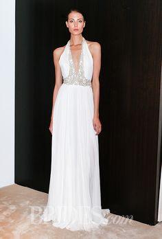 Brides.com: . Halter sheath with embroidered plunging V-neck and waistline, J.Mendel