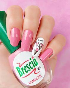 holiday pink ice cream nail art design Kawaii Nail Art, Pink Nail Art, Nail Art Diy, Easy Nail Art, Cool Nail Art, Diy Nails, Ice Cream Nails, Neon Flowers, Cute Summer Nails