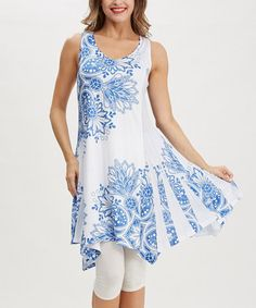 Look what I found on #zulily! Blue Floral Sleeveless Tunic by Simply Couture #zulilyfinds