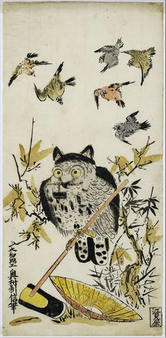 Okumura Toshinobu: An Owl and Sparrows ca. 1716-1736