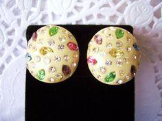 WEISS Vintage MultiColored Rhinestone Earrings by TrueHearts, $36.95