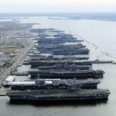 Aircraft carriers USS Dwight D. Eisenhower (CVN 69), USS George H.W. Bush (CVN 77), USS Enterprise (CVN 65), USS Harry S. Truman (CVN 75), and USS Abraham Lincoln (CVN 72) are in port at Naval Station Norfolk, Virginia  Picture: REUTERS/U.S. Navy/MC2 Ernest R. Scott