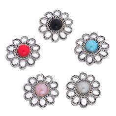 ZARABE Snap Button Fit DIY Bracelet Hollow Venetian Pearl Flower 22x23mm-5PCs ** Check this awesome item by going to the link at the image.
