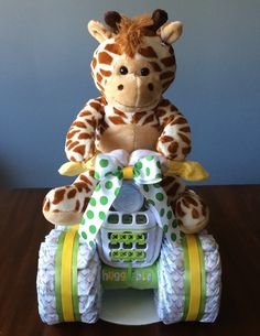 Giraffe Themed Diaper Bike, Diaper Cakes, Diaper Creations