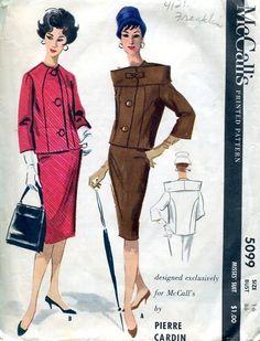 McCall's 5099 Designer Pierre Cardin Fab Suit Jacket Skirt 36 1959