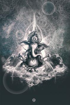 Iván Rivera Neumann- Ganesh Ganesha Tattoo, Ganesha Art, Lord Ganesha, Jai Ganesh, Shree Ganesh, Shiva Art, Hindu Art, Namaste Art, Mystic Moon