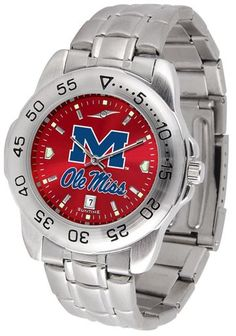 NCAA Men's Mississippi Rebels Ole Miss Sport Steel AnoChrome Watch