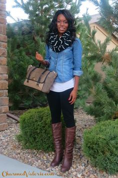 Outfit Idea: infinity scarf + leggings + boots