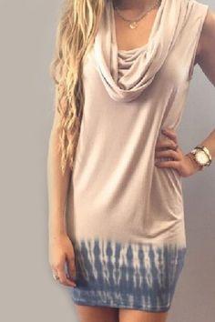 Convertible Heaps Collar Sleeveless Dip Dyed Dress