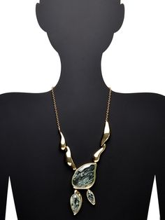 Aqua Crackle Stone Infinity Pendant Necklace by Alexis Bittar at Gilt