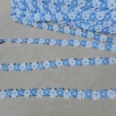 metrový-bytový textil-Želiezovce - GALANTÉRIA - Ozbobné primky - Ozdobná primka modrý kvet