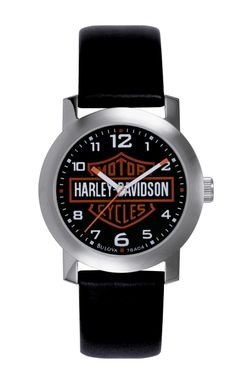 """You can't beat a classic. This """"Harley-Davidson Bar & Shield Watch"""" features a very basic, yet traditional design, which proudly displays the large Harley-Davidson Bar & Shield logo with a leather wrist band. It may not be fancy, but it is a perfect addition to Dad's Harley Davidson collection. Royal Hawaiian Center, Waikiki, Harley-Davidson, Honolulu"""