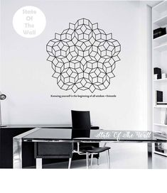 Penrose Tiling Wall Decal WITH QUOTE vinyl Sticker Art Decor Bedroom Design Mural interior design Science Education Art educational physics by StateOfTheWall on Etsy https://www.etsy.com/listing/226148274/penrose-tiling-wall-decal-with-quote
