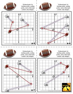 linear equations with football plays - game for Algebra 1