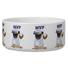 Cute MVP Baseball Pug themed Tees, Gifts Pet Water Bowl