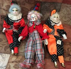 Vintage Lot of Three Porcelain Clown Dolls   by TheDrippingTap