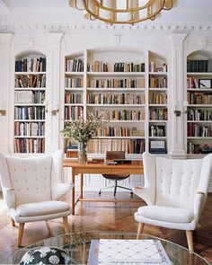 Lovely millwork around the bookcases. Shelton, Mindel & Associates