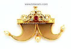 22K Gold 'Puli Goru' Design Pendant With Ruby , Cz & Cultural Pearls