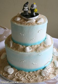 "Design W 0153 | Butter Cream Wedding Cake | 10""+6"" | Serves 50 | Hand Sprayed Background, Fondant Sea Shells, Sugar Sand | Custom Quote"
