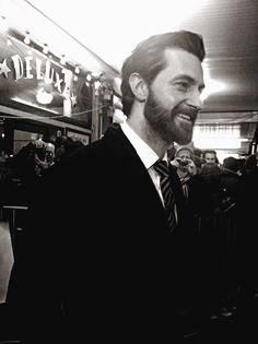 Richard Armitage. Good God, look at that beard! --- Oooh. I normally don't like the beard on him. But the Rugged Lumberjack-type Armitage is just fine. Seriously fine.