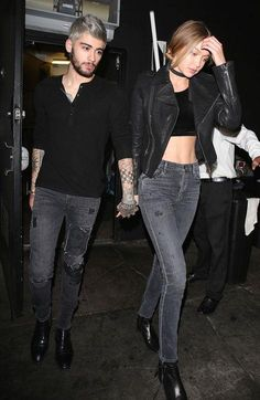 Gigi Hadid and Zayn Malik just wore matchy-matchy outfits on date night - see their matching gray skinny jeans, black ankle boots, and basic tops.