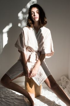 Shop our pure linen robes, made with natural fibres, woven from our signature French linen and dyed using non-toxic dyes. Photography Poses, Fashion Photography, Cami Set, Linen Sheets, Outfits With Hats, Mode Inspiration, Light And Shadow, Lounge Wear, Luxury