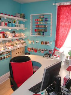 Love the organization in this room!  I wish I new where to find the ribbon organizer!  I could REALLY use one of those!