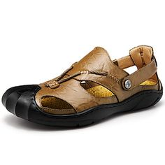 Men's Sandals Spring Summer Comfort Cowhide Leather Outdoor Athletic Casual Flat Heel Button Khaki Brown Black Hiking 5790784 2017 – $34.99