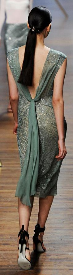 Spring 2014 RTW Jason Wu Collection. There is a silvery green-grey that harmonizes beautifully with Soft Summer that we seldom see in the swatch books. Lovely dress.