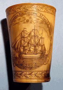 Rare whaling scene horn cup dated 1793
