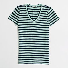 Factory layering v-neck tee in classic stripe ($33) ❤ liked on Polyvore