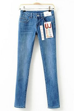 REGISTER ON PERSUNMALL.COM #NEW #prom  Mid Waist Washed Jeans in Light Blue