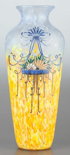 Art Glass:Legras, A LEGRAS ENAMELED GLASS VASE. Circa 1920. Marks: LEGRAS.15-1/4 inches high (38.7 cm). PROVENANCE:. Property from the ... I...