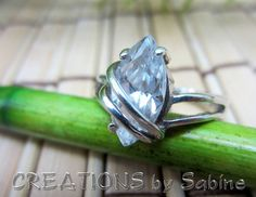 Sterling Silver Ring with Clear Marquise Cut Stone, Size 4.5 / 925 CA Classy Classic Design Pinky Elegant / Vintage FREE SHIPPING by CREATIONSbySabine