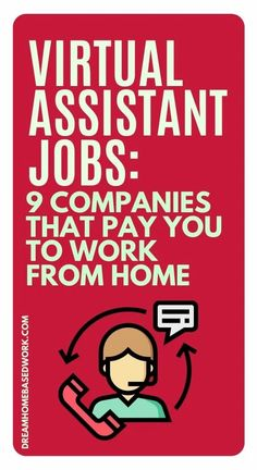 Looking for a work from home job?  Virtual assistants are in high demand and job opportunities are growing!  As a VA you complete a variety of tasks for clients.  Here are 9 Companies That Pay You To Work from Home!  #virtualassistant #jobs #hiring #workathome Work From Home Options, Work From Home Companies, Work From Home Jobs, Administrative Jobs, Receptionist Jobs, Basic Software, Home Based Work, Virtual Assistant Jobs, Home Business Opportunities