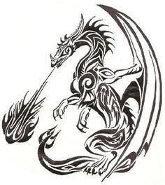 Tribal Dragons Tattoos For Sticker Design Inspiration 24 Dragon More Más Tribal Dragon Tattoos, Celtic Dragon Tattoos, Dragon Tattoo Designs, Tribal Tattoo Designs, Wolf Tattoos, Animal Tattoos, Star Tattoos, Tatoos, Tribal Drawings