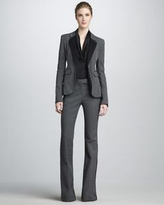 Hutton Flared Suit & Eleanor Shawl-Collar Top by Rachel Zoe at Neiman Marcus.