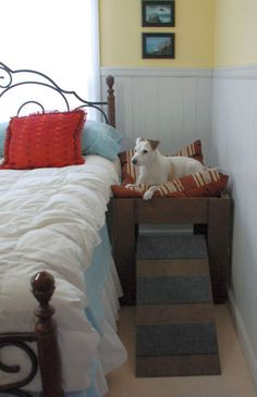 Wood Raised Dog Bed Furniture. Put Your Pet Next to by LoveOfBeach  Order an oil painting of your pet now at www.petsinportrait.com