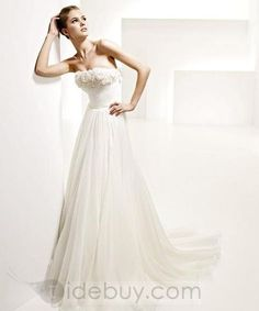 Casual Strapless Silk Flower Embellishment Wedding Dresses (Free Shipping)