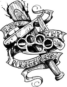 love_thy_neighbor_tattoo_flash_by_SD_Designs.jpg (1200×1554)