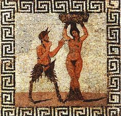 Roman mosaic of Pan and Hamadryad, a Greek mythological being that lives in trees , found in Pompeii, from the Farnese Collection, inv no Naples Archaeological Museum