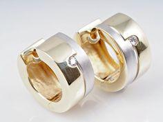 Bicolor Creolen Ohrringe 0,04 Karat Brillanten 585 Gold 14 Karat
