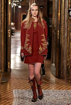 This drapey red coat is made even better with gold embroidery // Chanel Métiers d'Art Show