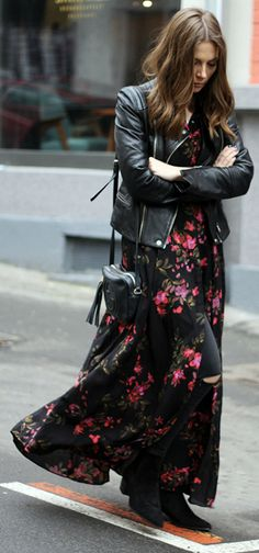 Floral maxi dress + Vanja Milicevic + ultra feminine + gorgeous flowing dress + cute cropped leather hacket + ankle boots  Jeans/Dress/Jacket: Zara, Boots: Cinti, Bag: Gucci.