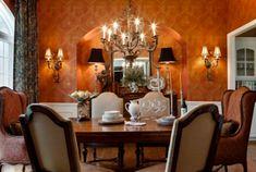 Die Farbe Orange für Ihr Esszimmer - farbe orange ornamenten tapete wandleuchten
