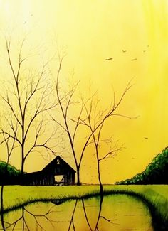 "Saatchi Online Artist Kyle Brock; Painting, ""All the Leaves are Gone"" #art"