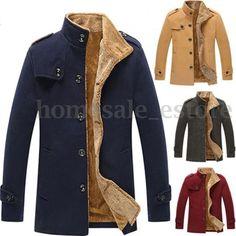 2016 New Men's Slim Parka Fleece Winter Warm Jacket Trench Coat Casual Overcoat #Unbranded #BasicCoat