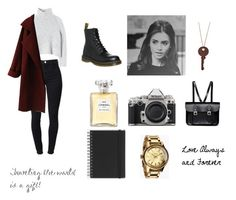 """""""Traveling Around and Going Places"""" by ballerinadirectioner ❤ liked on Polyvore featuring J Brand, Rebecca Taylor, Dr. Martens, The Cambridge Satchel Company, Nikon, Chanel, Nixon, Muji, lilycollins and nohomework"""