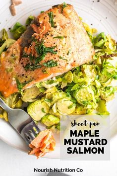 Make your oven do all the work for dinner tonight. This easy salmon and brussels sprouts one pan dinner is bursting with sweet tangy flavor from the syrup and mustard, plus it's ready in 20 minutes. #salmon #quickdinner #sheetpandinner