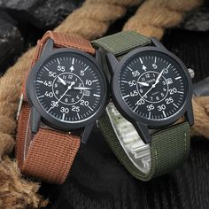 XINEW Men Military Quartz Canvas Strap Watch Auto-date Outdoor Sports Casual Male Watches at Banggood